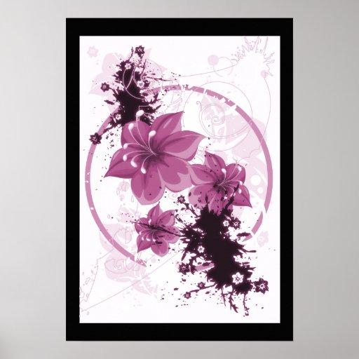 3 flores bonitas - rosa póster