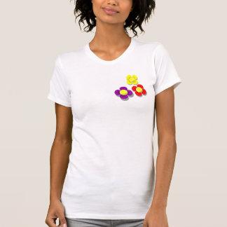 3 flores de la pelota de tenis con la sombra gris, camiseta