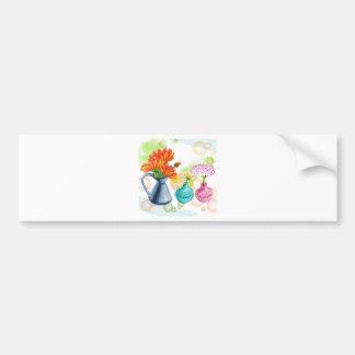 3 Flower Pots Water Colour Drawing Bumper Sticker