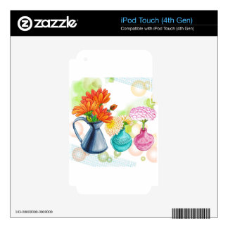 3 Flower Pots Water Colour Drawing Decals For iPod Touch 4G