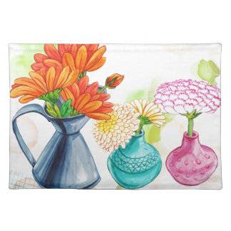 3 Flower Pots Water Colour Drawing Placemat