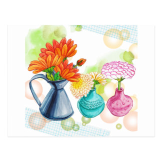 3 Flower Pots Water Colour Drawing Postcard