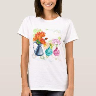 3 Flower Pots Water Colour Drawing T-Shirt