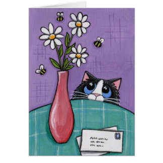 3 Flowers 3 Bees - Cat Greeting Card