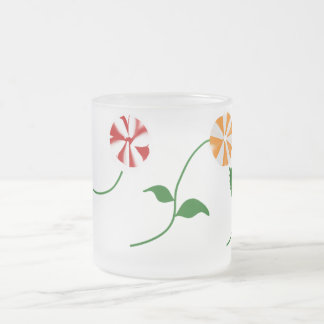 3 Flowers- Frosted Glass Mug