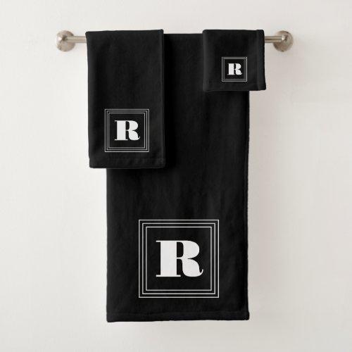 3 Frame Monogram  Black  White Bath Towel Set