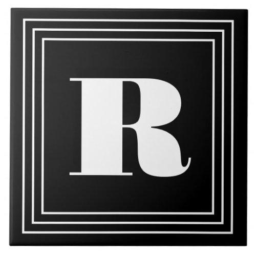 3 Frame Monogram  Black  White Ceramic Tile