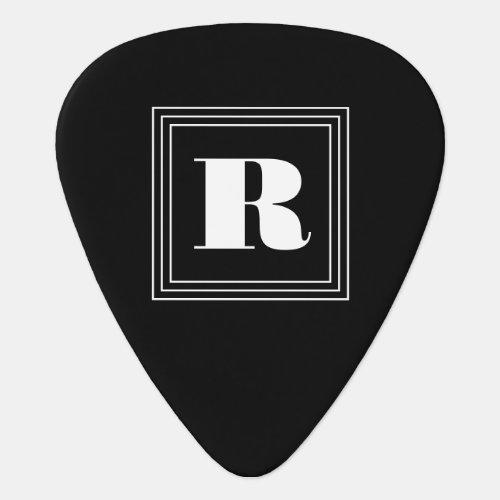 3 Frame Monogram  Black  White Guitar Pick