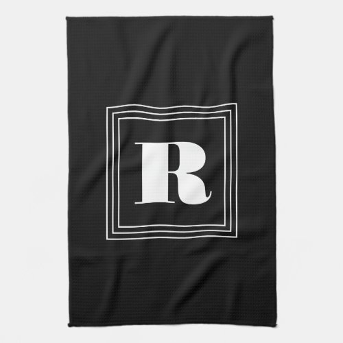 3 Frame Monogram  Black  White Hand Towel