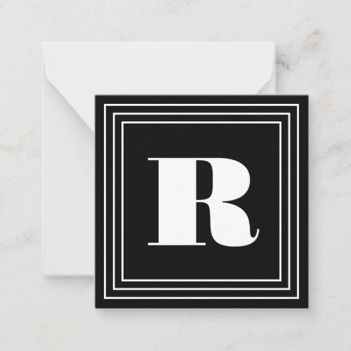 3 Frame Monogram  Black  White Note Card