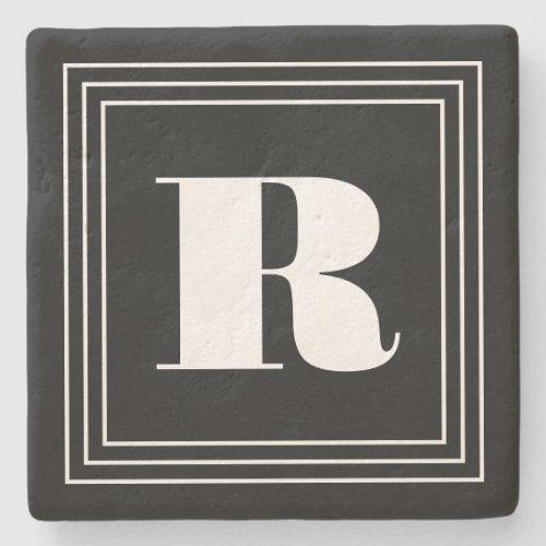 3 Frame Monogram  Black  White Stone Coaster