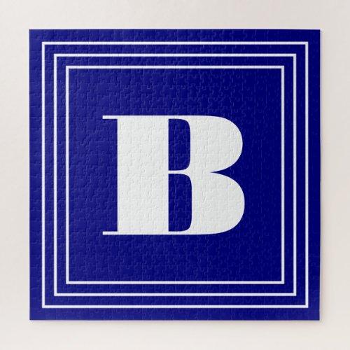 3 Frame Monogram  Navy Blue  White Jigsaw Puzzle