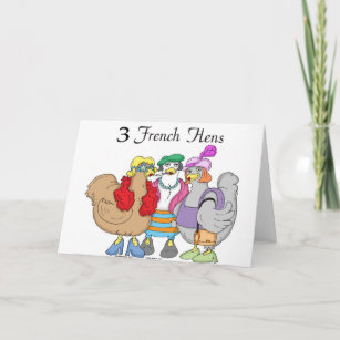 French cards zazzle 3 french hens holiday card m4hsunfo