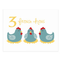 3 French Hens Postcard