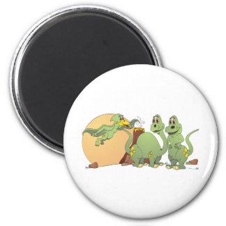 3 Friendly Dinosaurs 2 Inch Round Magnet