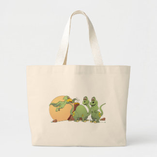 3 Friendly Dinosaurs Large Tote Bag