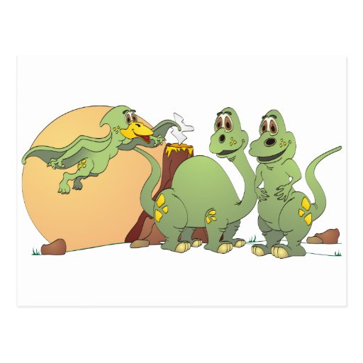 3 Friendly Dinosaurs Postcard
