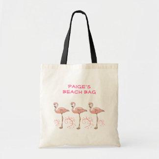 3 Fun Pink Flamingos Swirls Custom Name Summer Budget Tote Bag