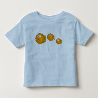 3 Funny Cartoon Puffer Fish Family Swimming Toddler T-shirt