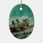 3 funny otters in a beautiful background of color ornament
