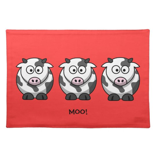 3 Funny Round Fat Cartoon Cows with Pink Nose Placemat