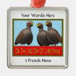 3 gallinas francesas ornaments para arbol de navidad
