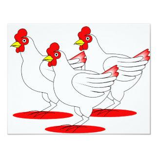 """3 gallinas francesas invitación 4.25"""" x 5.5"""""""