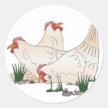3 gallinas francesas pegatinas redondas