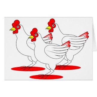 3 gallinas francesas tarjeta de felicitación