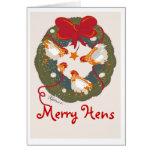 3 gallinas rojas del arco en tarjeta de Navidad de