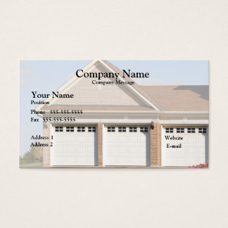 3 Garage Doors on house Business Card