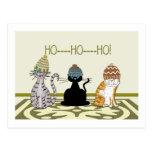 3 gatos con navidad de los gorras postal