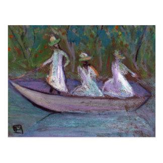 3 GIRLS IN A BOAT POSTCARD