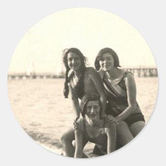 3 Girls On the Beach Round Stickers