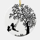3 Girls, Swinging on Tree Swing & Picking Flowers Ceramic Ornament