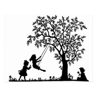 3 Girls, Swinging on Tree Swing & Picking Flowers Postcard