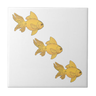3 Gold Fish Swimming Simple Pattern - revised Ceramic Tile