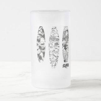3 grabar en madera taza de cristal