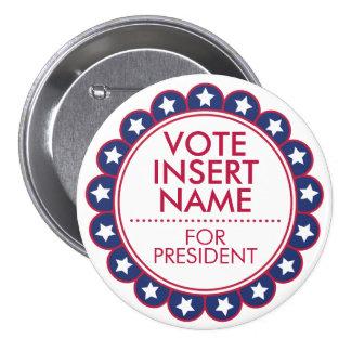 """3"""" grande campaña política de la elección del voto pin redondo de 3 pulgadas"""