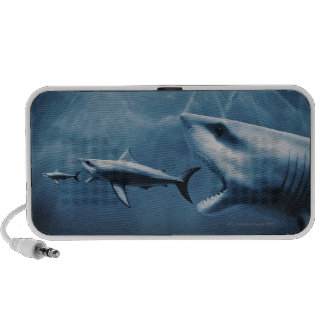 3 Great white sharks (Carcharodon carcharias) iPod Speakers