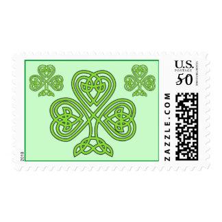 3 Green Celtic Irish Knot Shamrocks Plain Simple Postage
