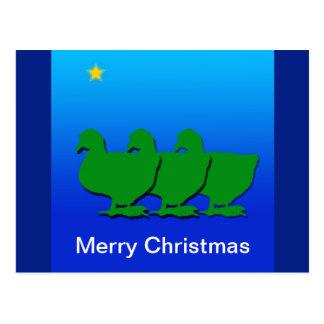 3 green christmas geese christmas goose postcard