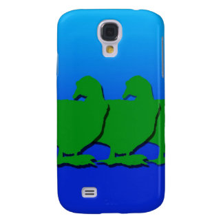 3 Green Christmas Geese with Christmas Star Galaxy S4 Cover