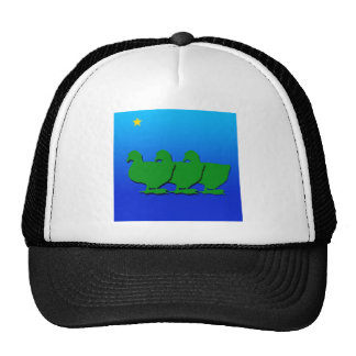 3 Green Christmas Geese with Christmas Star Trucker Hat