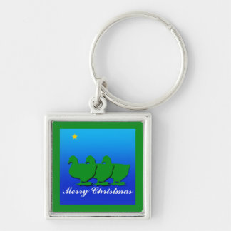 3 Green Christmas Geese with Christmas Star Keychain