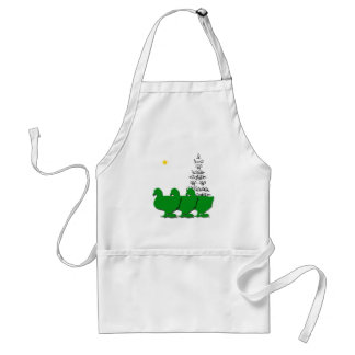 3 Green Christmas Geese with Christmas Tree & Star Adult Apron