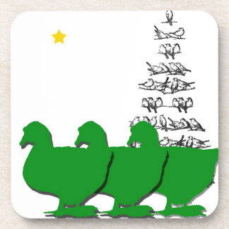 3 Green Christmas Geese with Christmas Tree & Star Beverage Coasters