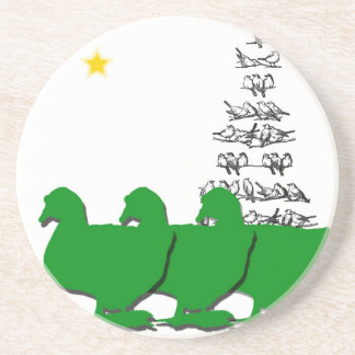 3 Green Christmas Geese with Christmas Tree & Star Coasters