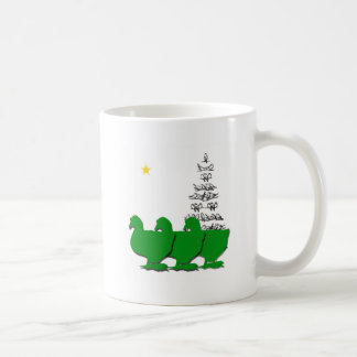 3 Green Christmas Geese with Christmas Tree & Star Coffee Mug
