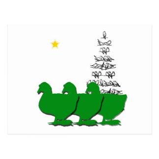 3 Green Christmas Geese with Christmas Tree & Star Postcard